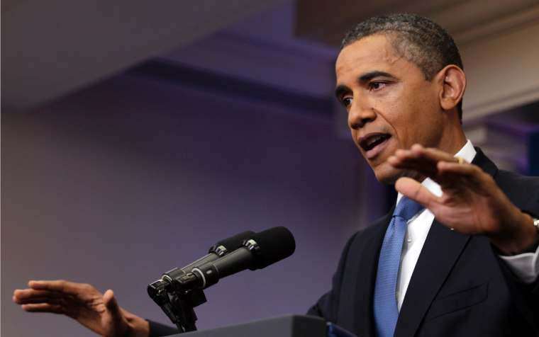 President Barack Obama gestures as he speaks about the ongoing budget negotiations in the briefing room of the White House, Monday, July 11, 2011, in Washington.