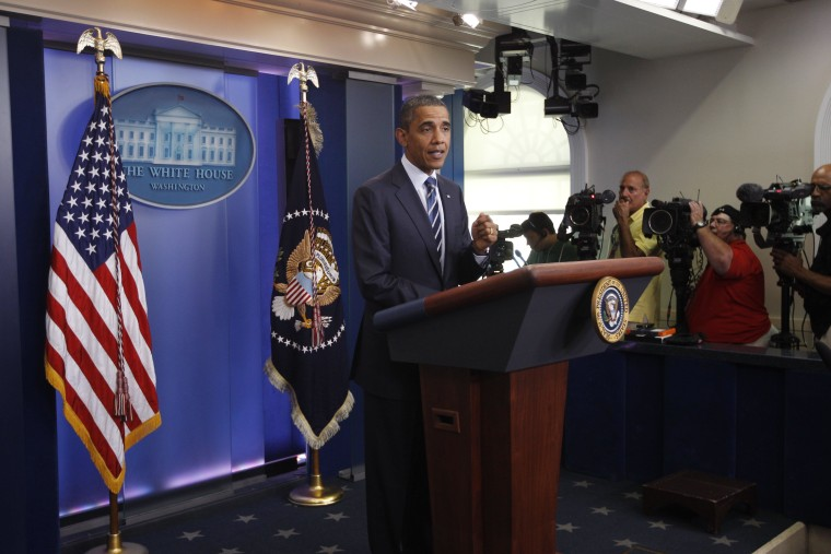President Barack Obama makes a statement to reporters in the James Brady Press Briefing Room at the White House in Washington after meeting with Republican and Democratic leaders regarding the debt ceiling, Thursday, July 7, 2011.