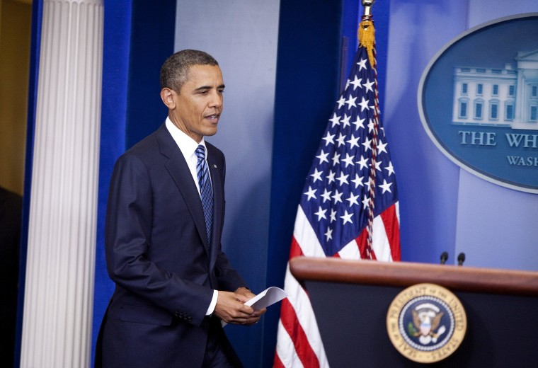 President Barack Obama makes a statement on the status of efforts to find a balanced approach to deficit reduction in the briefing room of the White House.