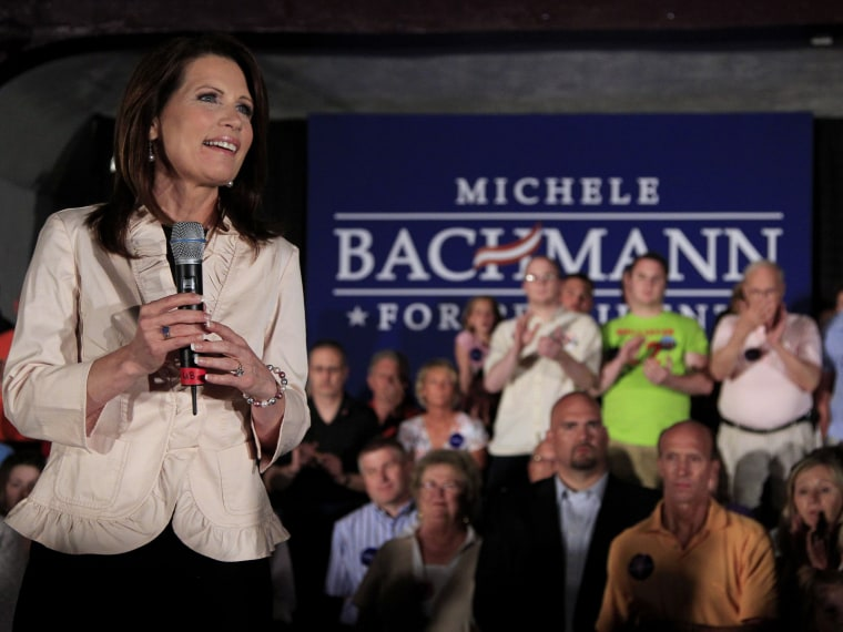 U.S. Rep. Michele Bachmann, R-Minn., addresses the crowd during a welcome home event in her hometown of Waterloo, Iowa Sunday, June 26, 2011. Republican Rep. Michele Bachmann said Sunday her bid to unseat President Barack Obama shouldn't be viewed as ...