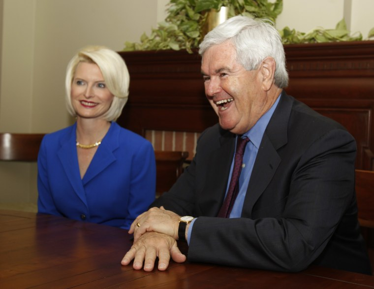 Former House Speaker and Presidential Candidate Newt Gingrich and his wife Callista.