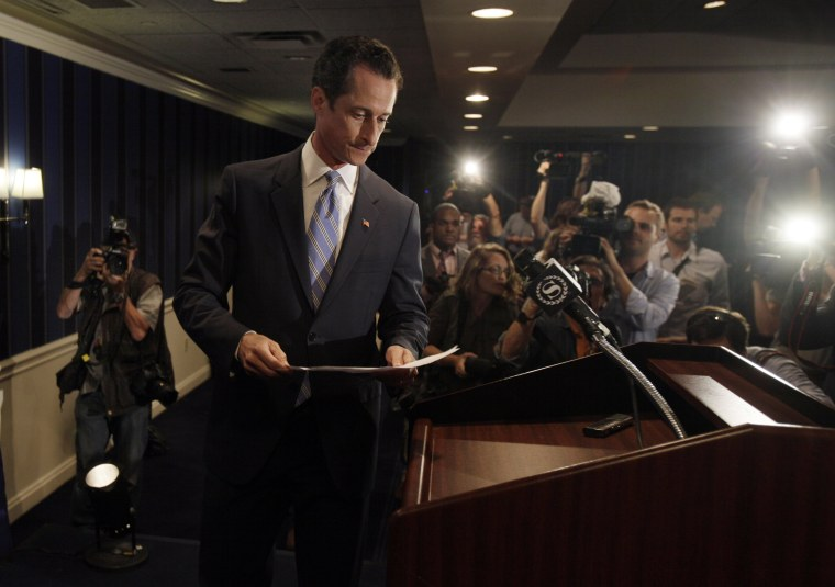U.S. Rep. Anthony Weiner, D-N.Y., arrives for a news conference in New York, Monday, June 6, 2011. After days of denials, a choked-up New York Democratic Rep. Anthony Weiner confessed Monday that he tweeted a sexual photo of himself to a young woman...