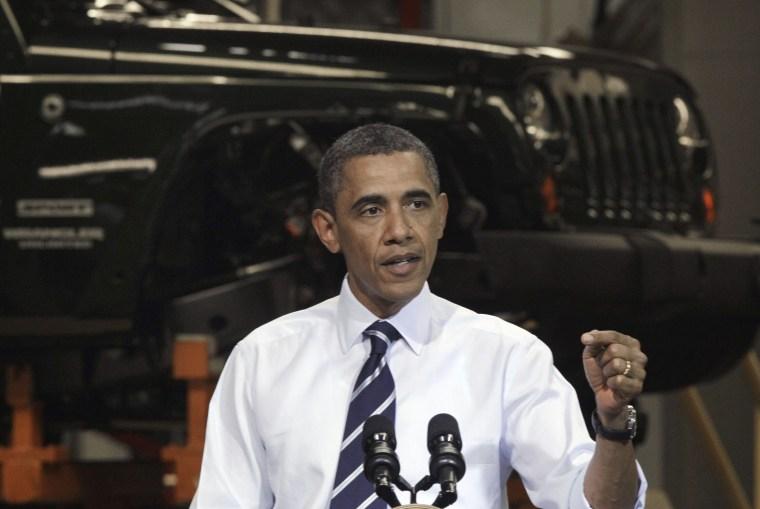 President Barack Obama speaks at Chrysler Group's Toledo Assembly complex in front of a Jeep Wrangler, Friday, June 3, 2011, in Toledo, Ohio.