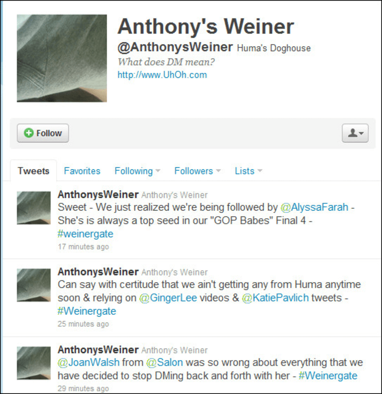But of course! Fake Anthony Weiner Twitter now happening