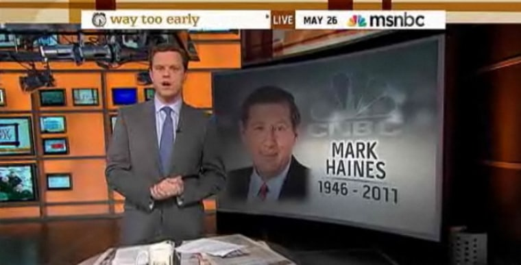 """Willie Geist remembers CNBC's Mark Haines on the May 26, 2011 episode of \""""Way Too Early\""""."""