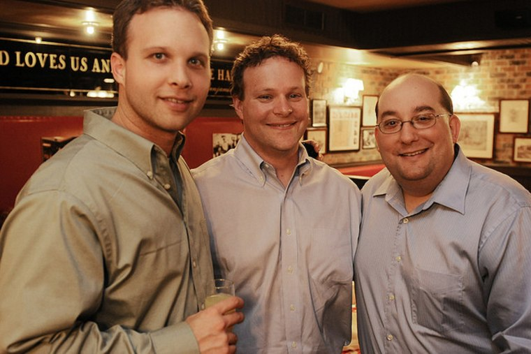 Chris Licht (center) with producer Jon Tower (l.) and director TJ Asprea (r.)