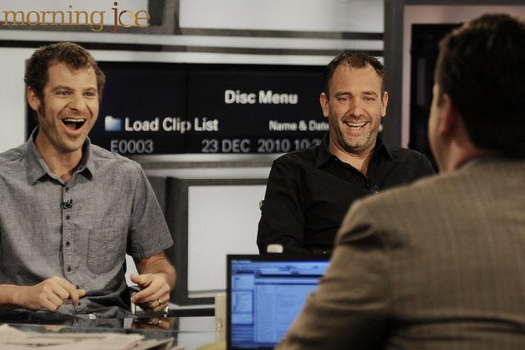 Matt Stone and Trey Parker on the set of Morning Joe
