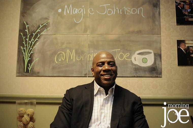 Magic Johnson in the Morning Joe green room