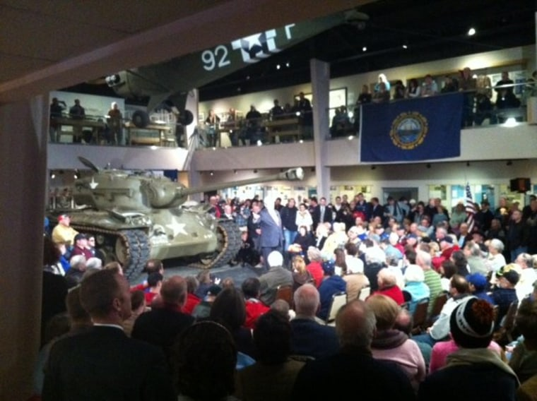 Newt Gingrich talks to veterans at a town hall in Wolfeboro, NH
