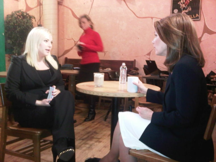 Meghan just before her interview with Michele Bachmann