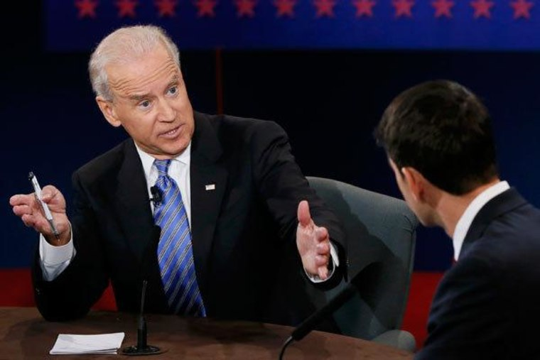 Vice President Joe Biden and Congressman Paul Ryan at the vice presidential debate Thursday in Danville, Kentucky.