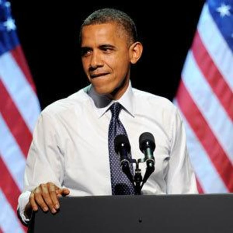 """President Obama speaking at the \""""30 Days To Victory\"""" fundraising concert at the Nokia Theater Sunday in Los Angeles, California."""