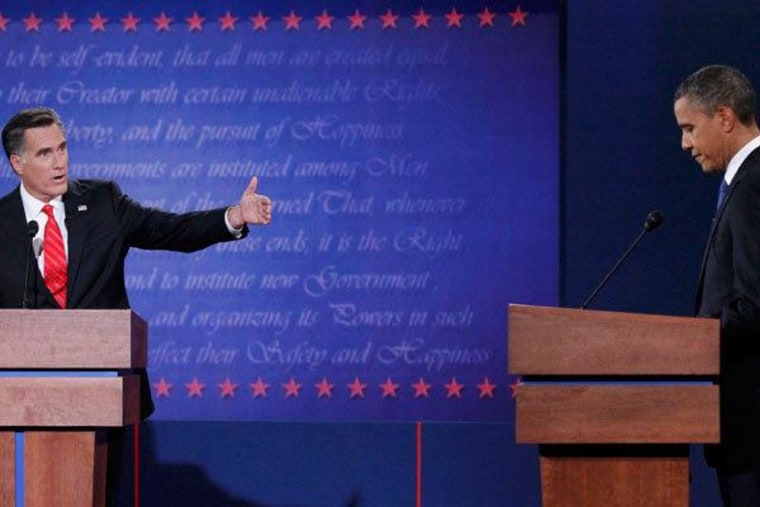 President Obama and Mitt Romney during the first presidential debate Wednesday in Denver, Colorado.