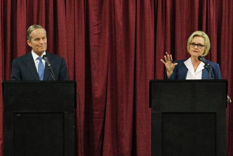 Missouri Senate candidates Todd Akin and Senator Claire McCaskill debating Friday in Columbia, Missouri.