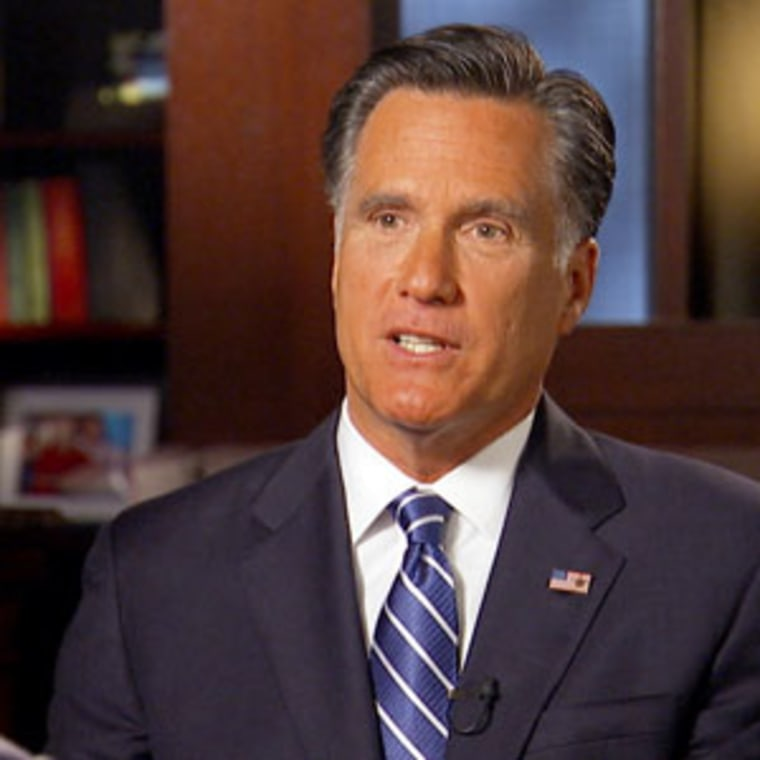"""Mitt Romney during an interview with \""""60 Minutes\"""" that aired on Sunday."""