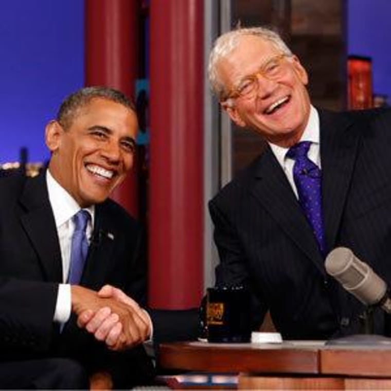 """The incident in question: President Obama and David Letterman \""""yucking it up\"""" Tuesday in New York."""