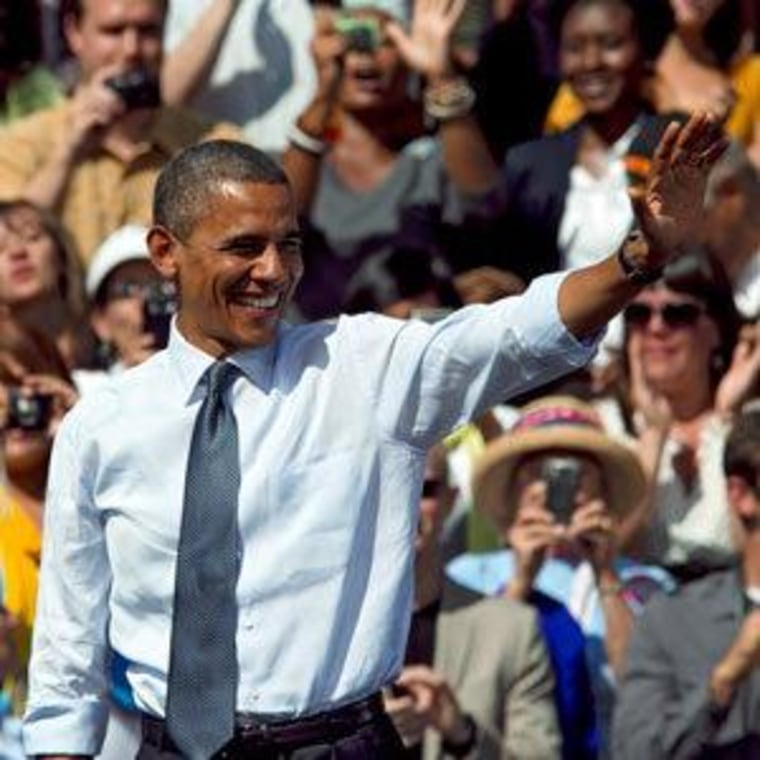 President Obama at a campaign rally in Golden, Colorado on Thursday.