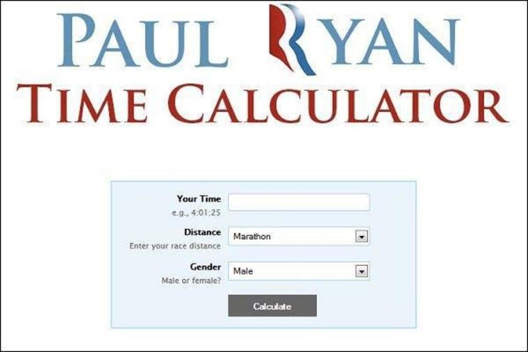 Online calculator adjusts 'Paul Ryan time'