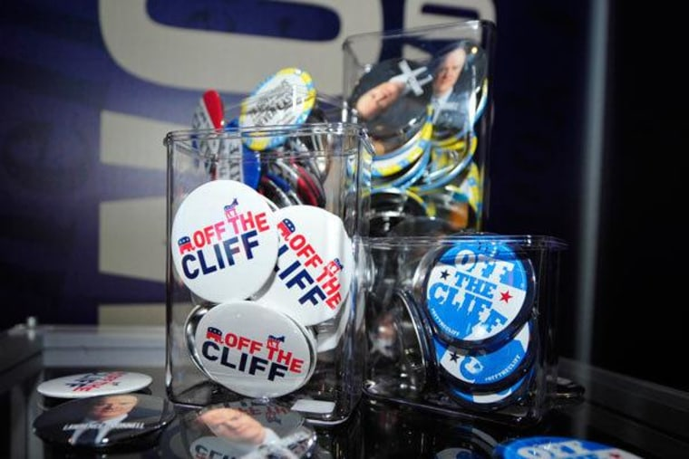 Off The Cliff buttons on display at the DNC