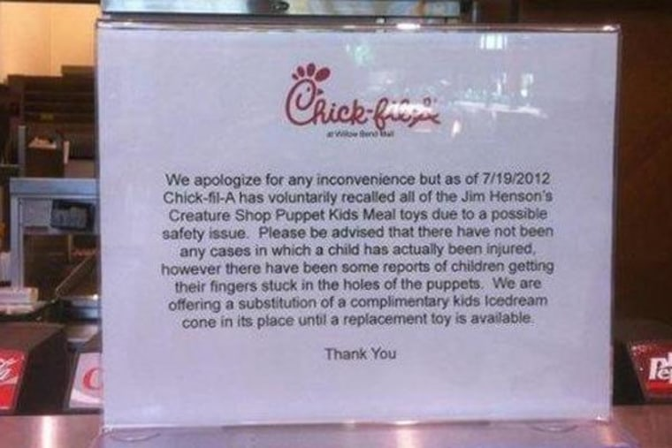 Chik-Fil-A store in Texas recalls Muppet toys.