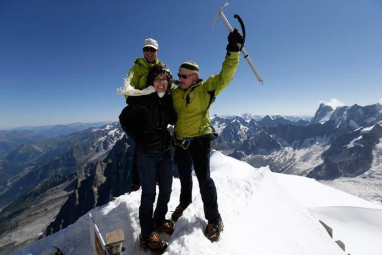 Former Arizona Rep. Gabrielle Giffords and Mark Kelly in the French Alps on Monday.