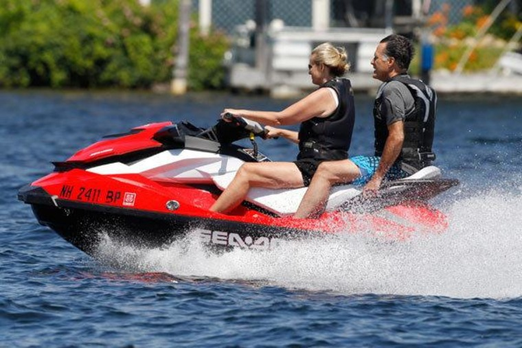 The Romneys taking a break from the campaign trail on Lake Winnipesaukee in New Hampshire on Monday.