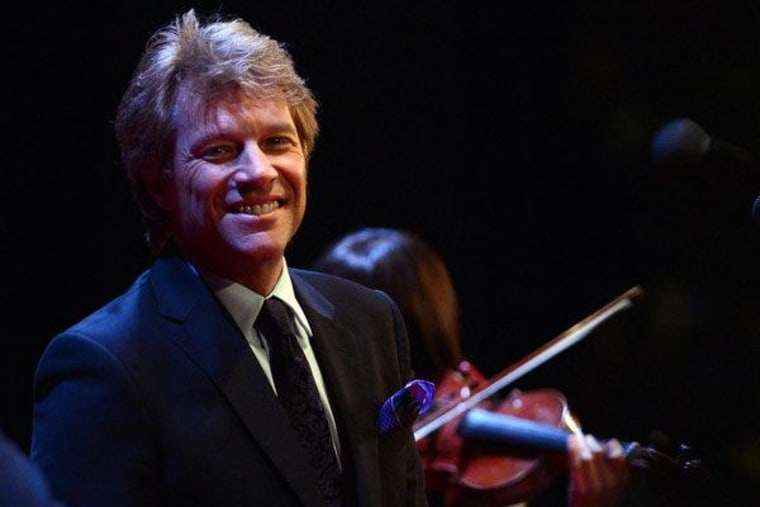 Jon Bon Jovi performing during a campaign event for President Obama in New York on Monday.