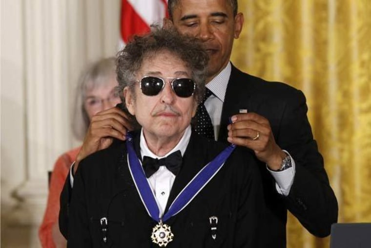 President Obama presenting Bob Dylan with the Medal of Freedom at the White House on Tuesday.