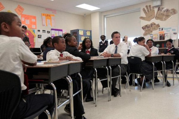 Mitt Romney taking part in the 6th grade language arts class during a tour of the Universal Bluford Charter School in Philadelphia on Thursday.