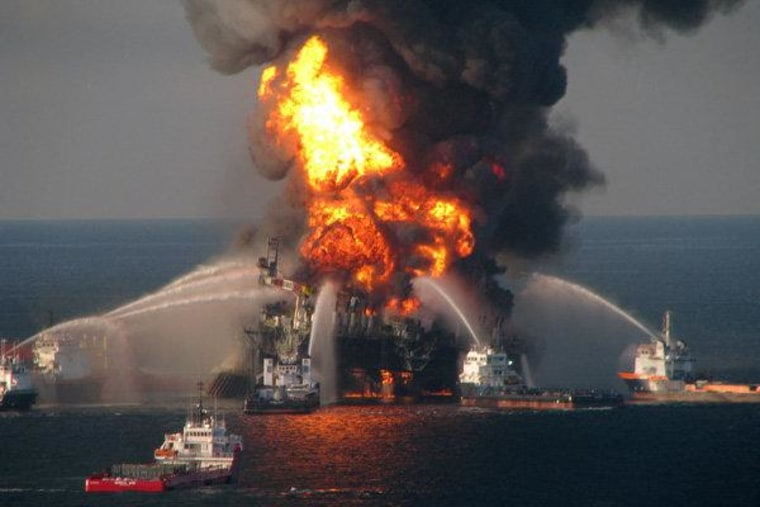 Response crews battling the blazing remnants of the off shore oil rig Deepwater Horizon in the Gulf of Mexico on April 21, 2010 near New Orleans, Louisiana.