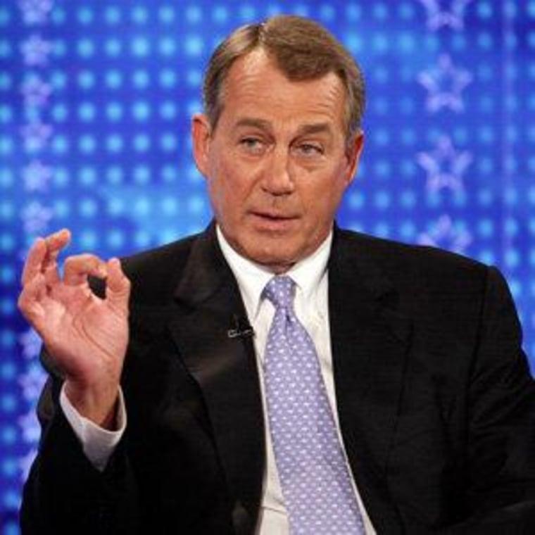 House Speaker John Boehner during a Fox News interview in New York on Monday.