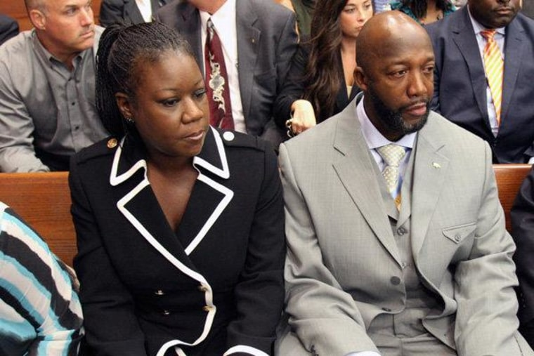 The parents of Trayvon Martin, Sybrina Fulton, and Tracy Martin, in the courtroom during a bond hearing for George Zimmerman in Sanford, Florida on Friday.