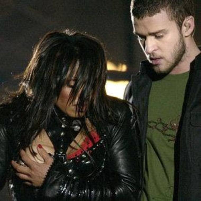 Janet Jackson and Justin Timberlake during the infamous 2004 Super Bowl halftime show in Houston.