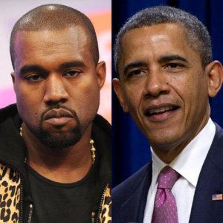 Kanye West (file); President Obama (file)