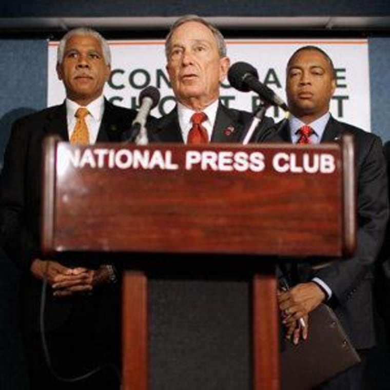 Mayor Michael Bloomberg announcing a new gun control campaign in Washington, D.C. on Wednesday.