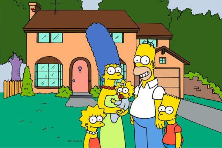 America's favorite animated dysfunctional family in front of their home in Springfield, Oregon.