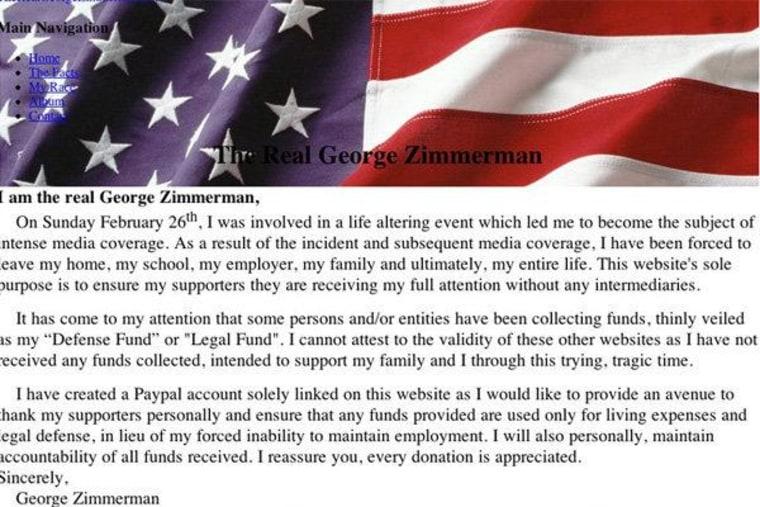 Screengrab of George Zimmernan's website.