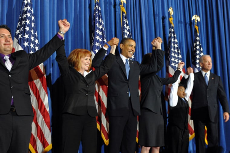 Celebrating the passage of the Affordable Care Act on March 23, 2010.