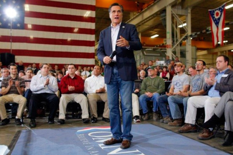 Romney speaks to a crowd in Youngstown, Ohio on Monday.