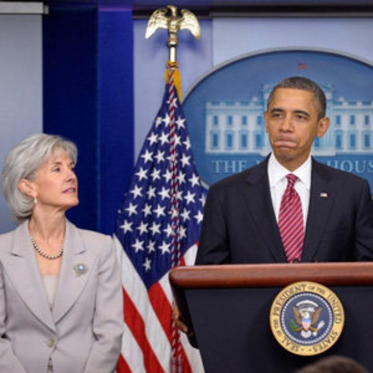 President Obama and Health and Human Services Secretary Kathleen Sebelius (file).