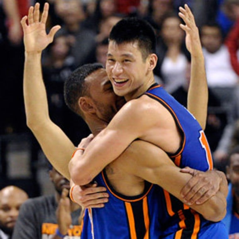 New York Knicks guard Jeremy Lin and Jared Jeffries celebrating their win against the Toronto Raptors on Tuesday.