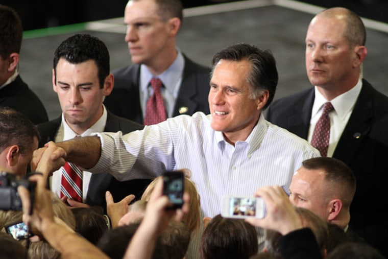 Willard M. Romney shaking hands with supporters in Centennial, Colorado on Monday.