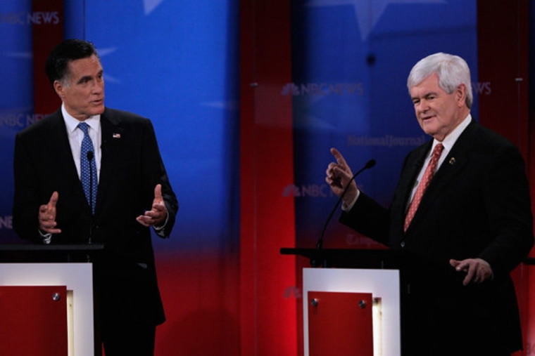 Mitt Romney and Newt Gingrich duke it out at the NBC News Republican debate in Tampa, Florida on Monday.