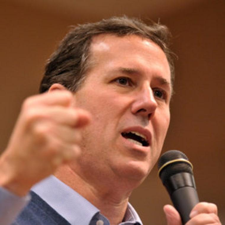 Rick Santorum speaking at a town hall meeting in Lady Lake, Florida on Monday.