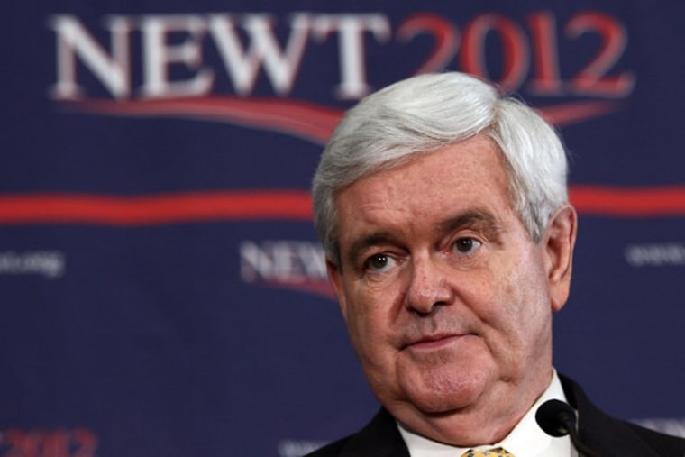 Newt Gingrich speaking to a crowd in Columbia, South Carolina on Wednesday.