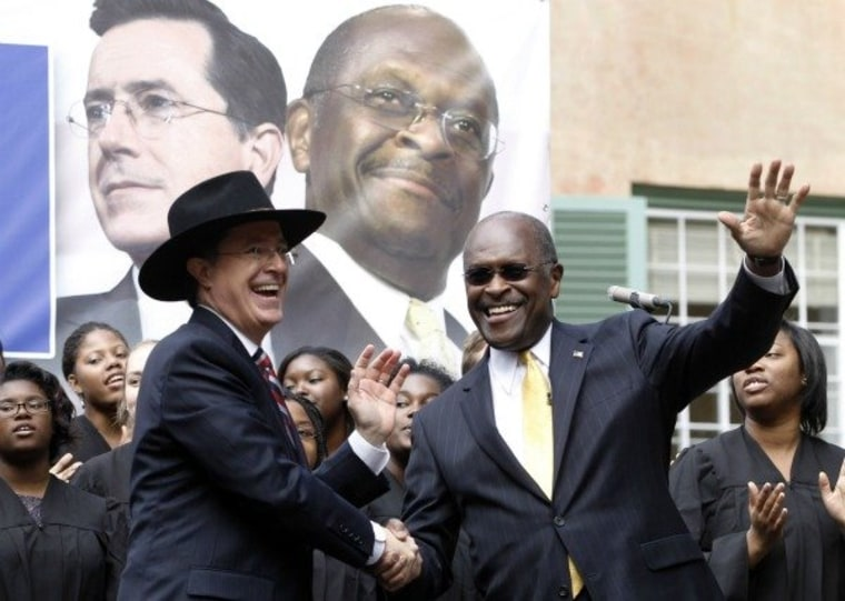 Fake conservative Stephen Colbert and real conservative Herman Cain team up in Charleston, South Carolina