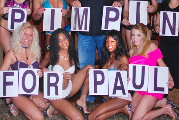 """Bunnies flashing their \""""Pimpin for Paul\"""" signs (file)."""