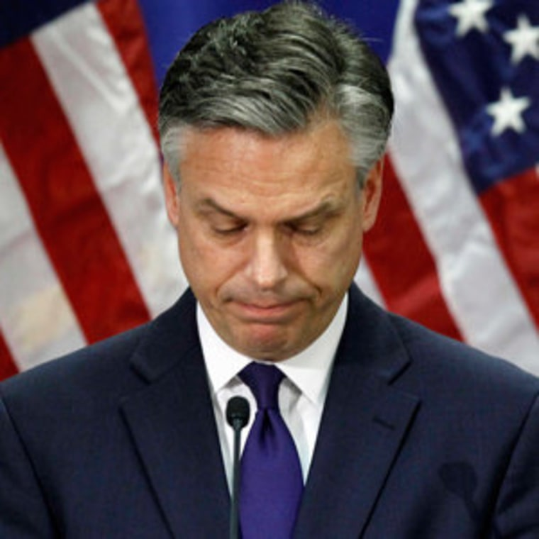 Jon Huntsman announcing his decision to end his campaign in Myrtle Beach, South Carolina on Monday.