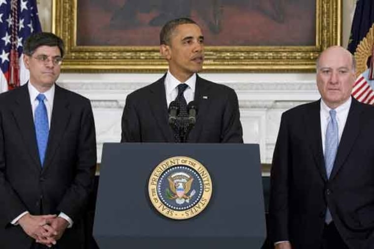 Jack Lew, President Obama and William Daley at the White House on Monday.