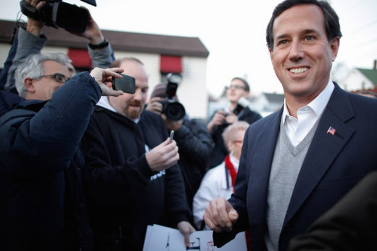 Rick Santorum (and his sweater vest) campaigning in Manchester, New Hampshire on Friday.